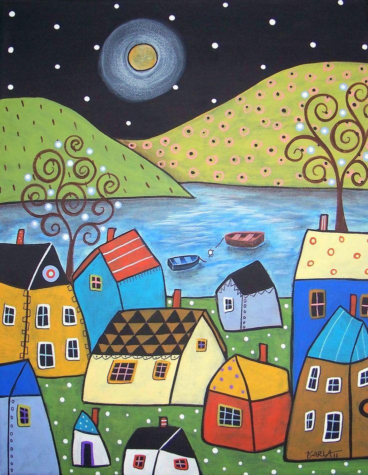 Folk Art Seaside Town Karla Gerard Canvas by KarlaGerardFolkArt