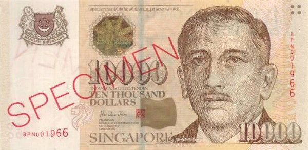 Singapore Dollar | The S$10,000 and B$10,000 note are the world's most valuable banknotes (that are officially in circulation)