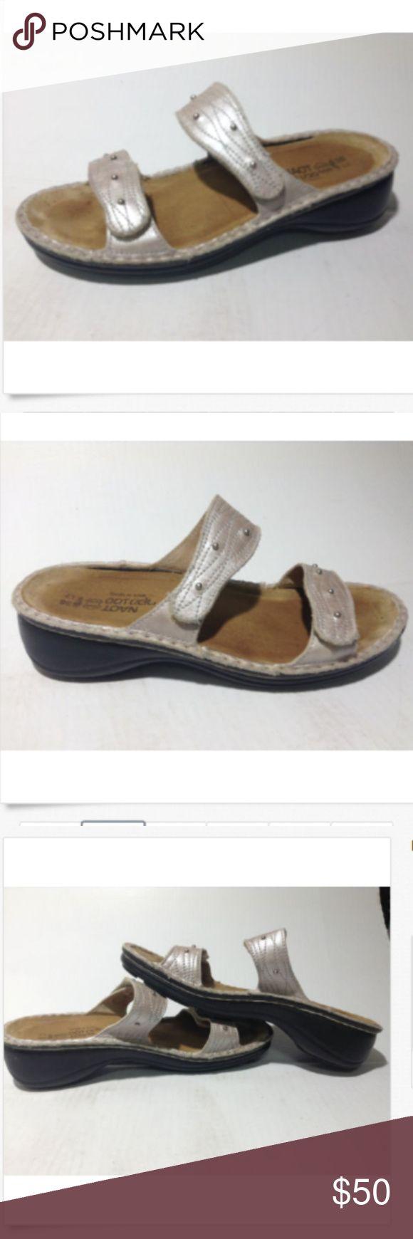 NAOT Shimmery Pewter Sandals Adjustable 7 38 NAOT shimmery pewter Sandals with adjustable straps size 7 US 38 EU NAOT Shoes Sandals