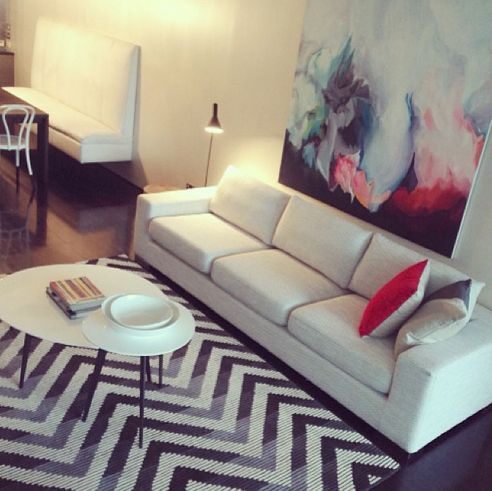 Rebecca Judd Lounge, love the rug, couch and painting