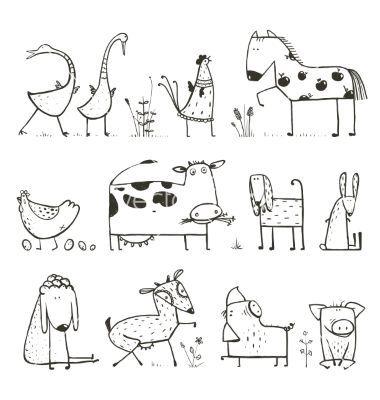 Lustige Cartoonfarm-Haustierskizzen von Popmarleo auf VectorStock®