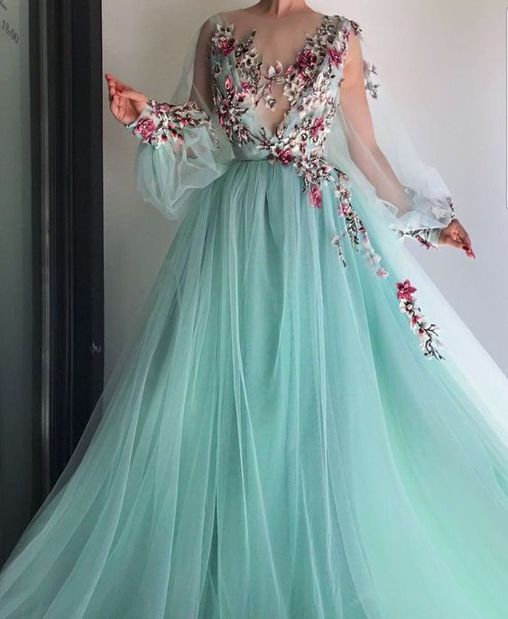 94dcfe5023e9 Blue tulle floral embroidered puff sleeve prom dress