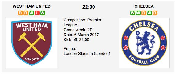 This is the first EPL meeting between West Ham and Chelsea at the London Stadium – West Ham United F.C. (11th in Premier League) won just 2 of their last 10 English Premier League matches against Chelsea F.C. (1st in Premier League) at Upton Park (D1 L7).  West Ham United vs. Chelsea  -  Premier L