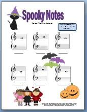 halloween worksheet for practicing treble clef notes perfect for beginner kids