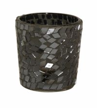 Sil Antique Mosaic Tea Light Candle Pot 6cm A charcoal grey candle pot with mosaic effect. Approximately 6x6cm in size.
