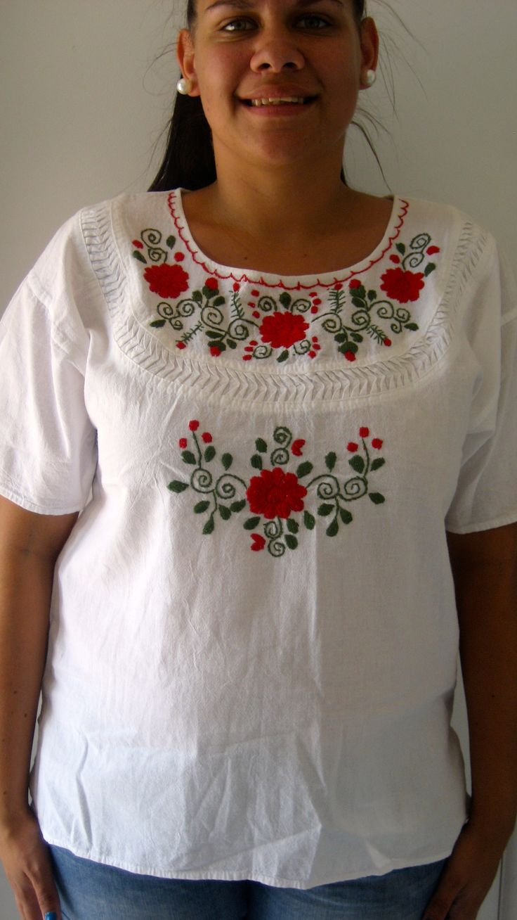 L-XL / AU 12-14 $35 L: 64cm B: 104cm   White vintage top with red and green floral stitching..
