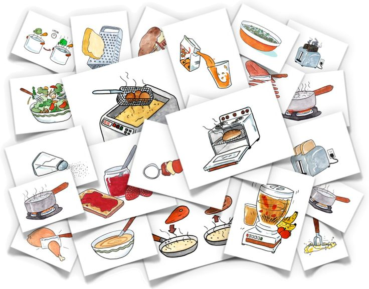 Cooking Verbs - comes with all the images listed below plus corresponding word cards.  sauté, skewer, blanche, bake, pour, blend, stir/mix, mash, heat, simmer, boil, sprinkle, slice, dice, chop, deep fry, peel, toss, toast, burn, soak, grate