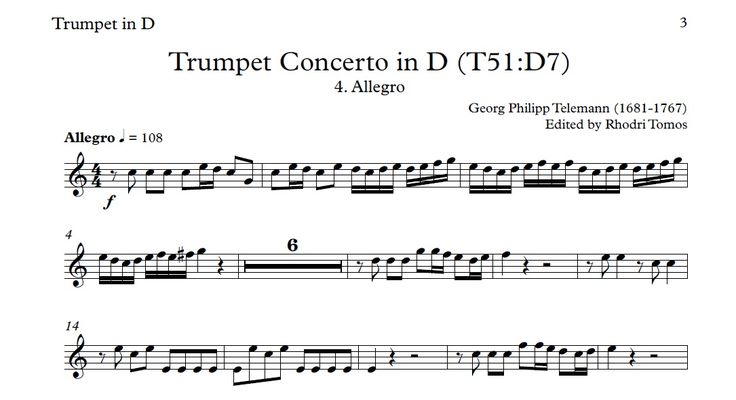 Telemann Trumpet Concerto in D (TWV51:D7) play-along ...