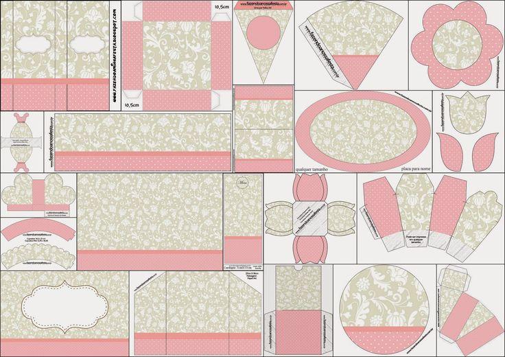 Precioso Kit Provenzal en Rosa, Gris y Blanco para Imprimir Gratis. http://esp-ohmybabyshower.blogspot.ca/2014/10/precioso-kit-provenzal-en-rosa-gris-y.html