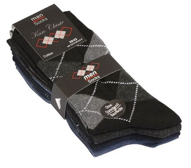 Klassische Karo-Herren-Socken im 5er Pack ohne Gummi !