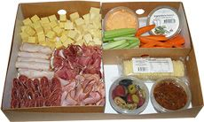 Our amazing Antipasto Platter is fantastic for the races and includes; - Selection of our favourite cold meats - Nimbin and Maasdam Cheese - 2 x dips - 1 x Bruscetta mix - 2 x packets of wafer crackers - Olives - Veggie sticks - carrots & celery.  Handmade the morning of pick-up and conveniently packaged in bio-degradeable boxes that you can simply throw away when you're done. Feeds 10-12 people, making the great value. | The Happy Apple