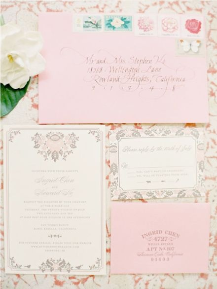 absolutely, smitten with these gorgeous pink and grey wedding invitations