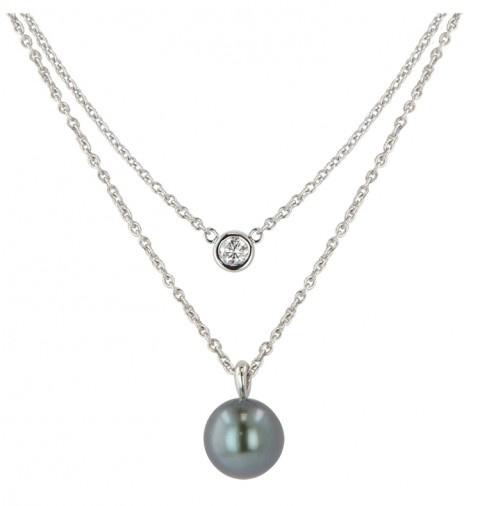 14 Karat White Gold Diamond and 9.5-10MM Black Tahitian Cultured Pearl Pendant