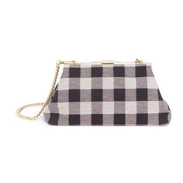 Mansur Gavriel 'Mini Volume' checker canvas clutch (3,050 CNY) ❤ liked on Polyvore featuring bags, handbags, clutches, purple handbags, print purse, coin pouch, change purse and canvas purse