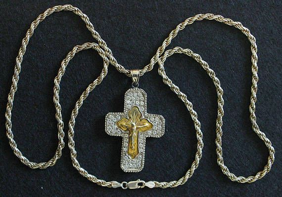Early 20th Cent. Russian Vermeil Pectoral Cross in Sterling