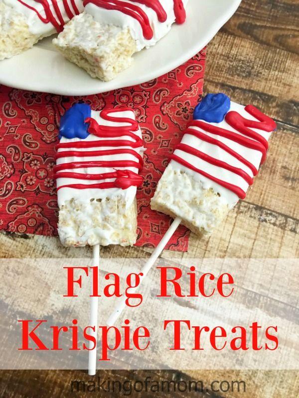 Flag Rice Krispie Treats - serve them as rice krispie treats or put a ...