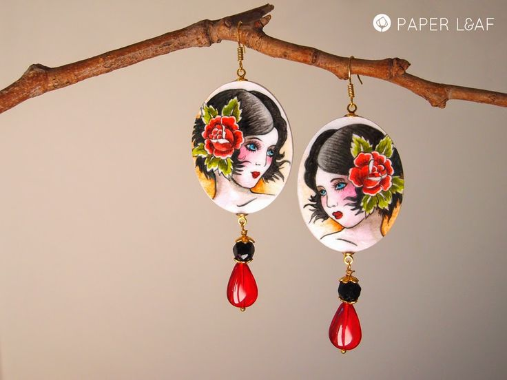 Porcelain Tattoo | RedGirl | handpainted paper earrings with glass beads | Paper Leaf  #paperjewellery #handpainted #PorcelainCollection #PorcelainTattoo