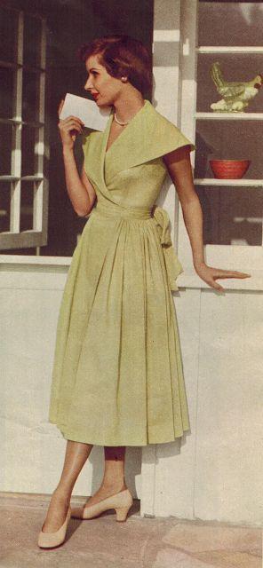 Beautiful celery green wrap dress, 1950. #vintage #1950s #fashion
