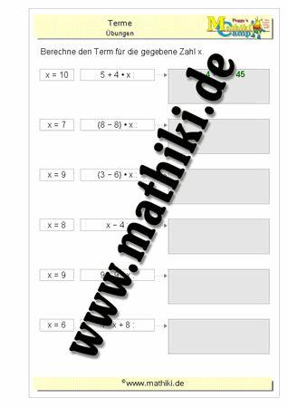 Termberechnung bei gegebenen x - ©2016, www.mathiki.de - Ihre Matheseite im Internet #math #terme #arbeitsblatt #worksheet