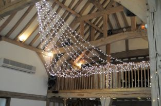 Fairy light ceiling in barn, Cain Manor