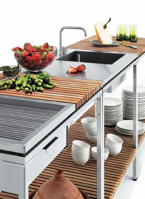 Good work surface close to sink.  I love the look of the wood and stainless steel.  Gives it a very custom, cool look.  Plus it is a great preparation center.  Get everything done here!