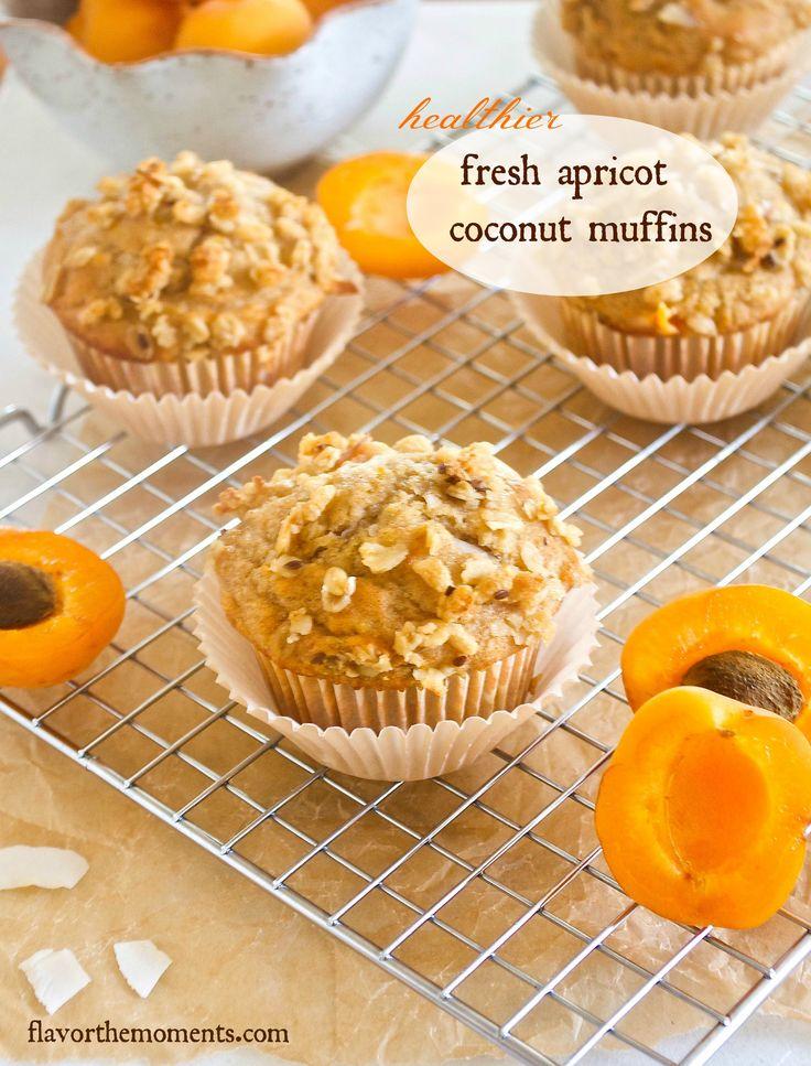 Healthier Fresh Apricot Coconut Muffins {Farmer's Market Friday} | flavorthemoments.com