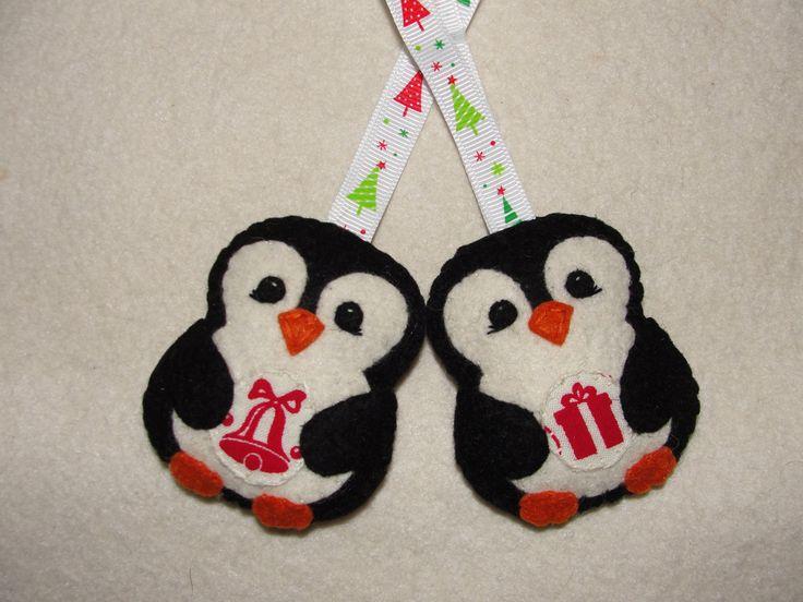 Wool Felt Penguin Ornament, Set of 2, Black Penguin, Christmas Ornament, Felt…