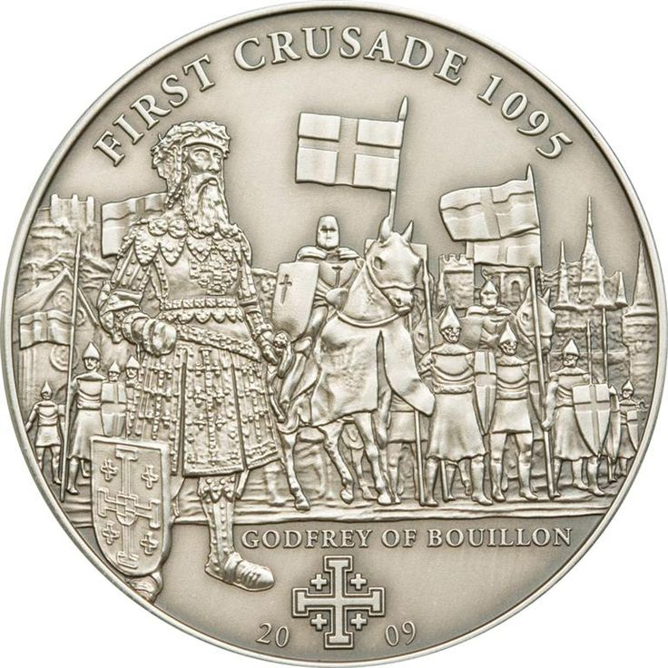 2009 Cook Islands 25 gr $5 silver coin - History of The Crusades: First Crusade, Godfrey of Bouillon (antique finish).