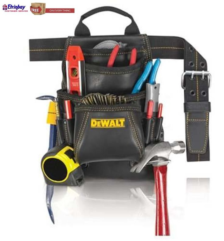 New Men Top Grain Leather Nail & Tool Belt Bag 10-Pocket Carpenter Belt Dewalt  #DewaltWorkGear