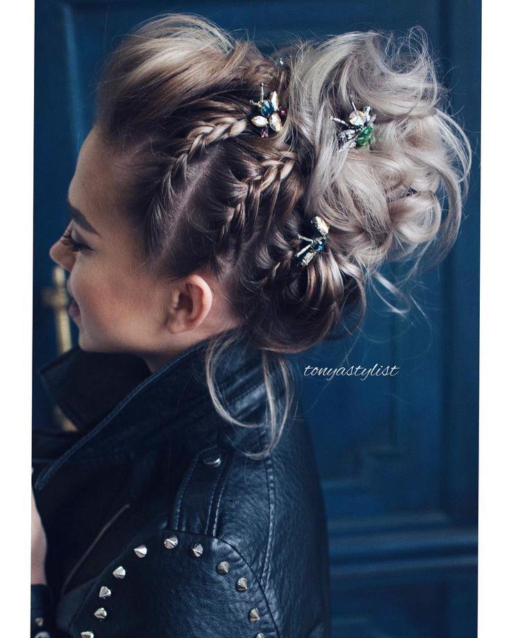 Tellement amoureux de ce look magnifique 👀 # étonnant #accessoires jolies choses.little.one # tonyastylist # updo # tresses # osis # schwarzkopfproru # beh ...