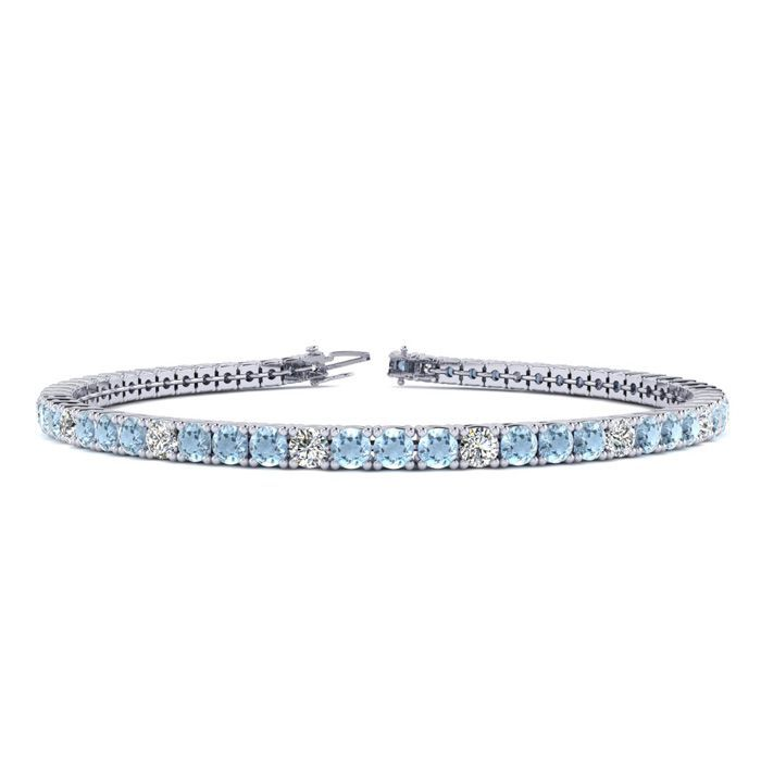 8 Inch 3 Carat Aquamarine And Diamond Alternating Tennis Bracelet In 14k White Gold Sports Online Shopping Tennis Bracelet Diamond Black Diamond Bracelet Diamond Carat Size