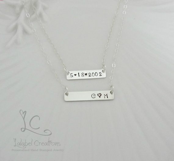 Two Sterling Silver Nameplate Necklace by LalabelCreations on Etsy