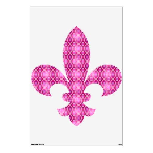 Pretty Pink Kaleidoscope Fleur De Lis Easy to remove Wall Decal. Comes in 3 sizes! for home or office decor.