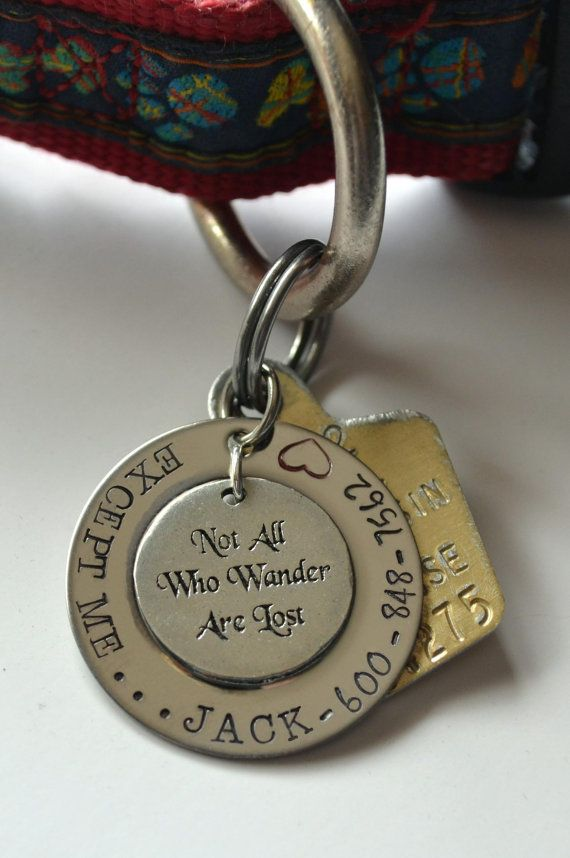 Not All Who Wander Are Lost pet tag  Not All by LauriginalDesigns, $18.00
