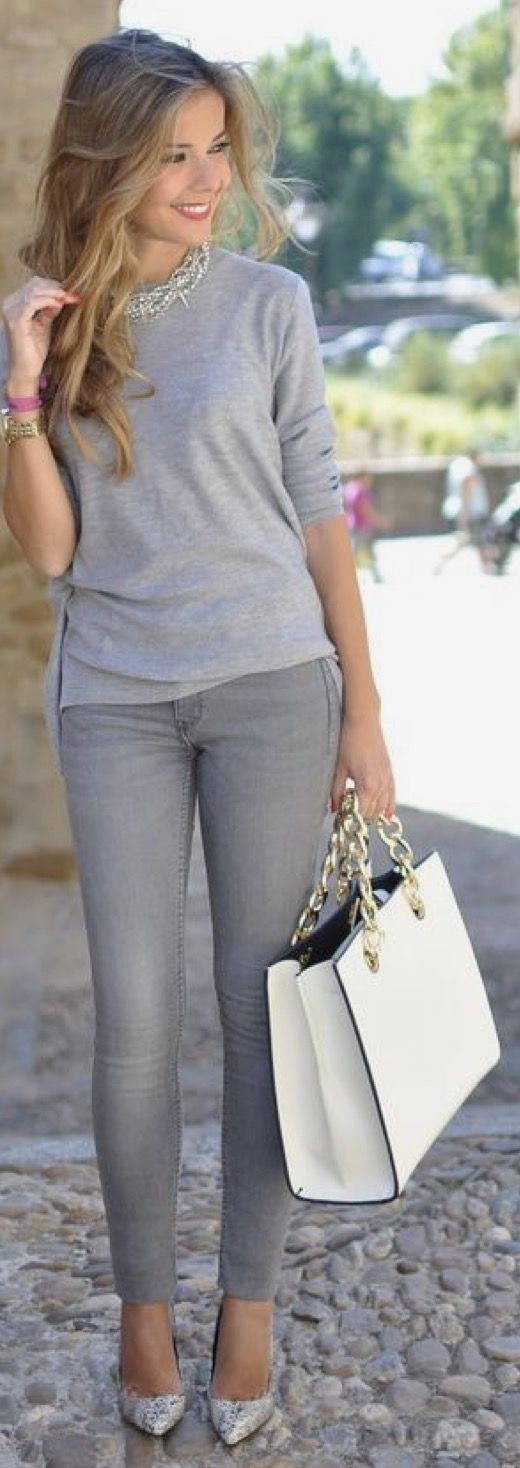 Best 25+ Gray jeans outfit ideas on Pinterest
