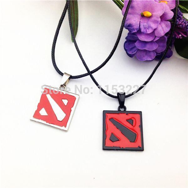 Men Women  trade online games around black red dota 2 sign pendant-necklace pendant necklace 2.5CM colar military