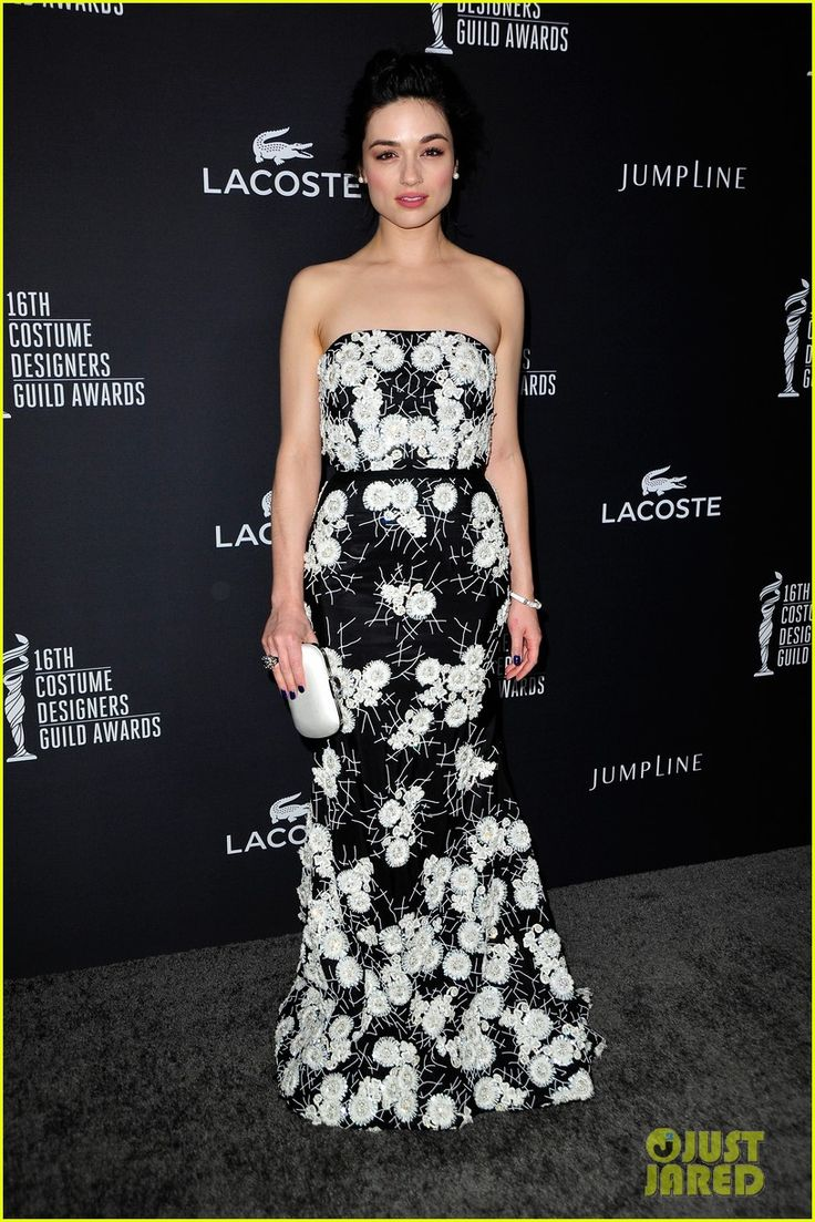 crystal reed boyfriend darren mcmullen red carpet debut 07 Crystal Reed looks beautiful in a black and white dress at the 2014 Costume Designers Guild Awards held at the Beverly Hilton Hotel on Saturday (February 22) in…
