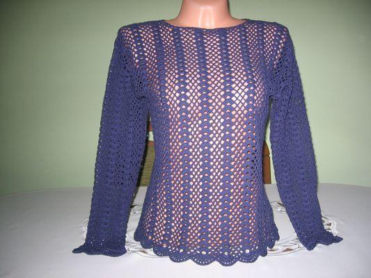 Bluzeczka, tunika wykonana szydełkiem z nici bawełnianych