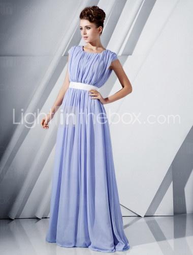 A-line Scoop Floor-length Chiffon Evening Dress - US$ 199.99