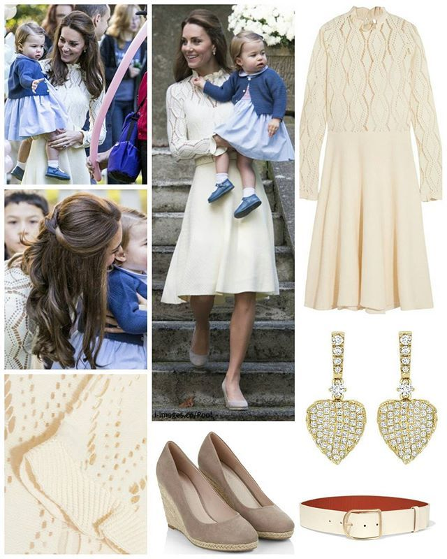 ◇29 September 2016◇ □ Outfit info □  Day six of the Cambridges' royal tour of Canada brought the most eagerly anticipated engagement, with Prince George and Princess Charlotte stealing the show at a Government House children's party. The Duchess debuted another brand today choosing the elegantSEE BY CHLOÉ Pointelle-knit cotton-blend dress.The French fashion house was founded in 1952 by Gaby Aghion. See is a younger line of the Chloé luxury brand. This line has manufactured ready-to-wear…