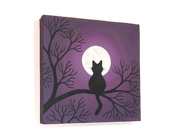 Black cat sitting in a tree, looking up at the full moon on a purple starry night. Original acrylic painting by Kim Onyskiw.