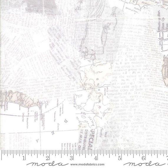 Compositions Map Fabric  Moda 30450 11  1 Yard Cut Bty  Off
