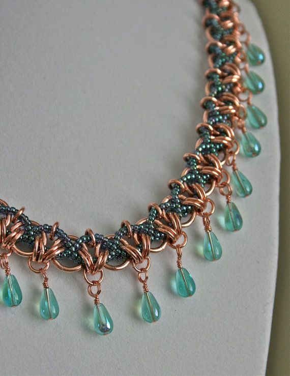 Bead Weaving and Copper Chainmaille with Blue by TheCopperAge, $62.00
