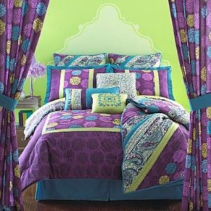 // Bed set // This is the one I ordered for college! lime green and teal bedroom