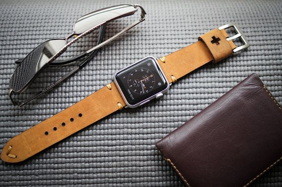 Handmade Vintage Leather Strap Swiss Ammo Style incl. Lugs Adapter for Apple Watch (or Apple Watch Sport) 42mm or 38mm