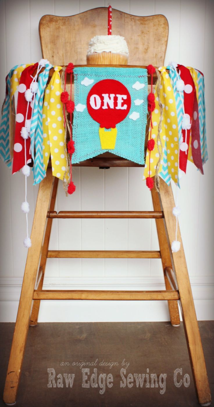 HOT AIR BALLOON Birthday Banner/Highchair/High Chair/Garland/First/One/Red Yellow Turquoise/Spring/Dr Seuss/Cake Smash/Photo Prop/Party by RawEdgeSewingCo on Etsy https://www.etsy.com/listing/229748667/hot-air-balloon-birthday