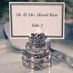 Silver cake placecard holder