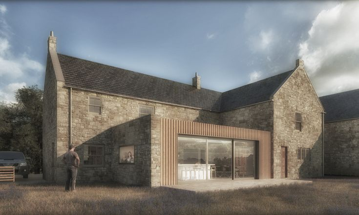 Design for a single storey extension and internal reconfiguration of a traditional farmhouse near Stocksfield in the Northumberland countryside.