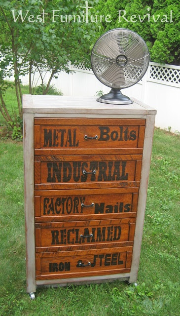 West Furniture Revival: INDUSTRIAL DRESSER REDO WITH DIY PULLS AND LETTER TRANSFER TUTORIAL for the utility room