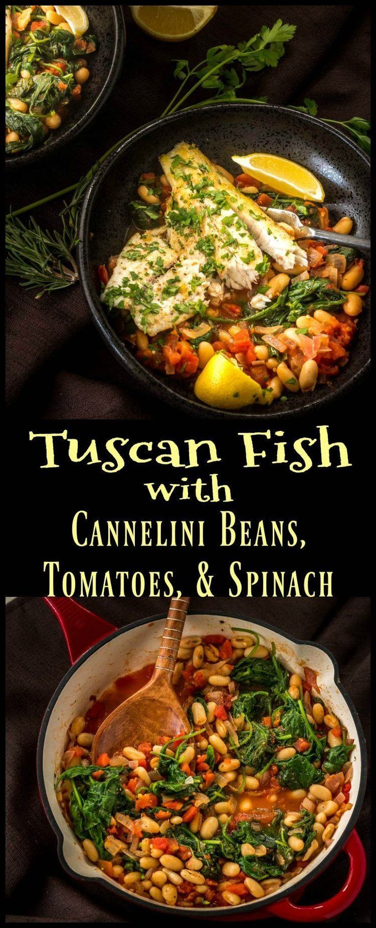 A quick, healthy, and delicious way to prepare inexpensive fish fillets! Tuscan Fish with Cannelini Beans, Tomatoes, and Spinach packs lots of bold flavor in a one-dish meal… #barramundi #tuscanfish #easyfishrecipes #weeknightdinners